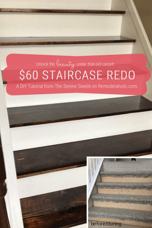 Carpet To Wood Stairs, DIY Stair Remodel, By The Serene Swede Featured On @Remodelaholic