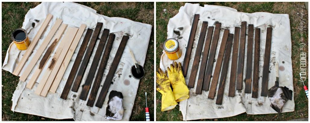 Staining wood door mat