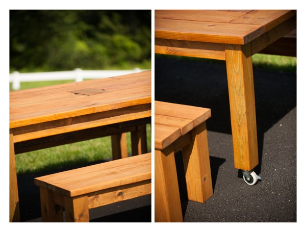 Finished product of my first woodworking project - outdoor table with ice chests in the center. Friday, July 17, 2015. (© 2015 Michael Connor / Connor Studios)