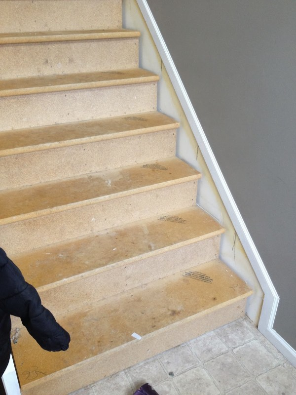 bare stairs before wood stair makeover, The Serene Swede on Remodelaholic