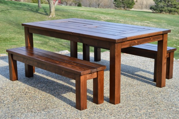 build a patio table with built-in drink cooler ice boxes, Kruse's Workshop on Remodelaholic