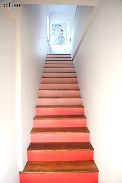coral ombre stairs, Design Sponge on Remodelaholic