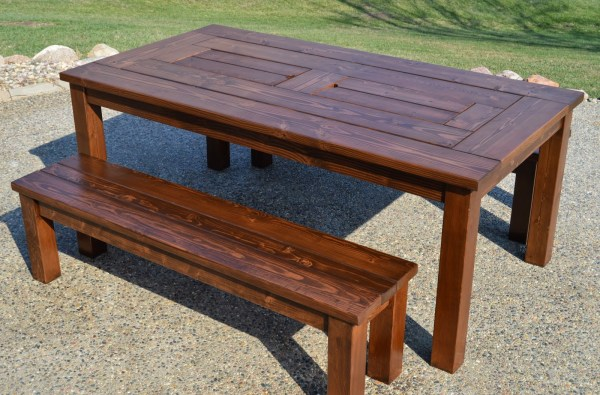 Remodelaholic build a patio table with built in ice boxes finished patio table iwth built in drink coolers and benches kruses workshop on remodelaholic watchthetrailerfo