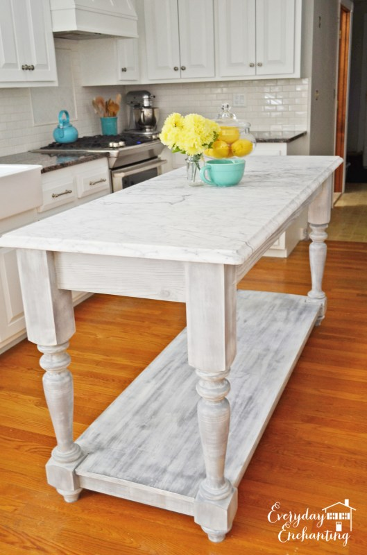 freestanding marble kitchen island, Everyday Enchanting on Remodelaholic