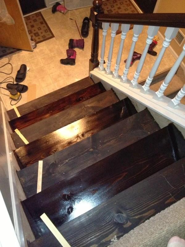 hardwood stair remodel, The Serene Swede on Remodelaholic