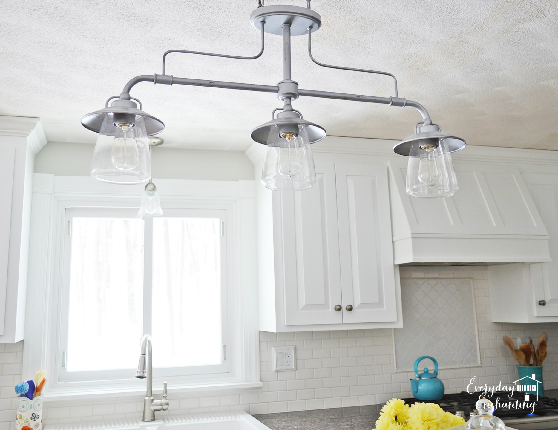 kitchen lights fixtures cabinet carpenter remodelaholic white overhaul with diy marble island