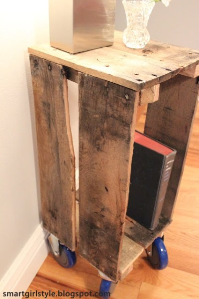industrial pallet side table