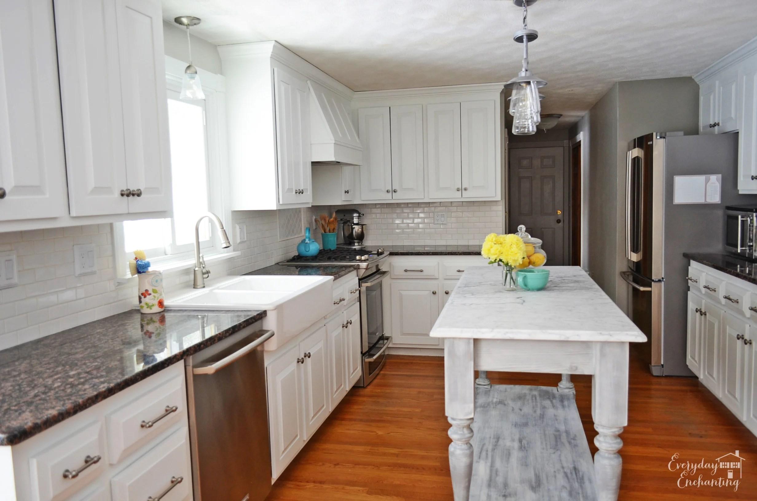 white kitchen islands comfort mats remodelaholic overhaul with diy marble island