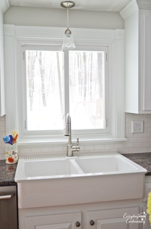 new IKEA sink in white kitchen, Everyday Enchanting on Remodelaholic