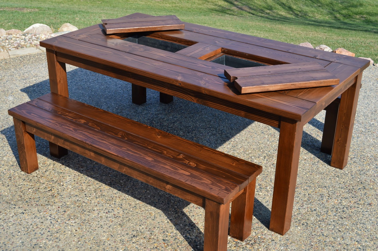 remodelaholic building plans patio table with built in drink coolers rh remodelaholic com homemade patio table top diy patio table top