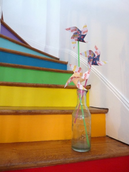 rainbow and wood stairs, La Bellette Rose on Remodelaholic