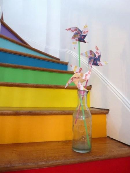 rainbow and wood stairs, La Bellette Rose on Remodelaholic