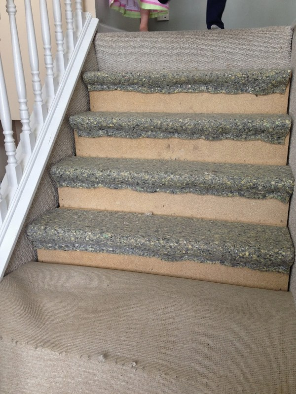 Carpet Hardwood Stair Remodel on remove old carpet padding