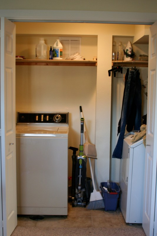 small laundry room makeover before, Love Melinda on Remodelaholic