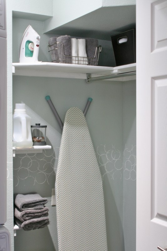 small laundry room storage and shelving, Love Melinda on Remodelaholic