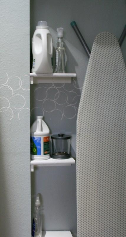 small laundry room with corner shelves, Love Melinda on Remodelaholic