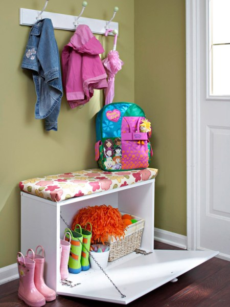 small mudroom with drop open bench, via BHG