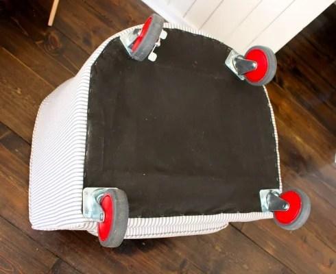 tub chair wheels attached