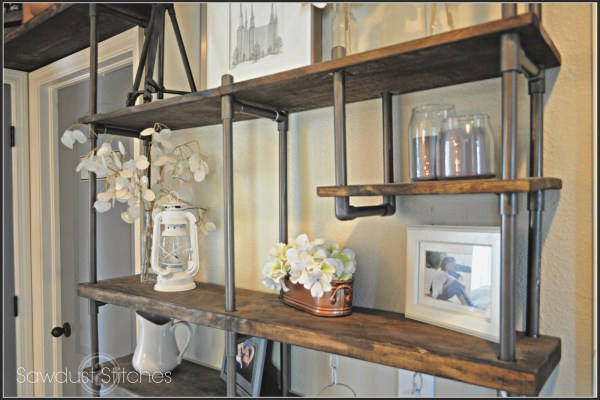 use PVC pipe to build an inexpensive industrial-style shelf, Sawdust 2 Stitches on Remodelaholic