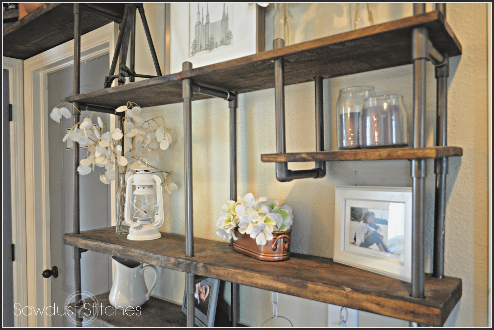 Remodelaholic | Build a Budget-Friendly Industrial Shelf ... on plumbing pipe shelving, pantry pipe shelving, wood and pipe shelving, kitchen butcher block pipe, closet pipe shelving, tv pipe shelving,