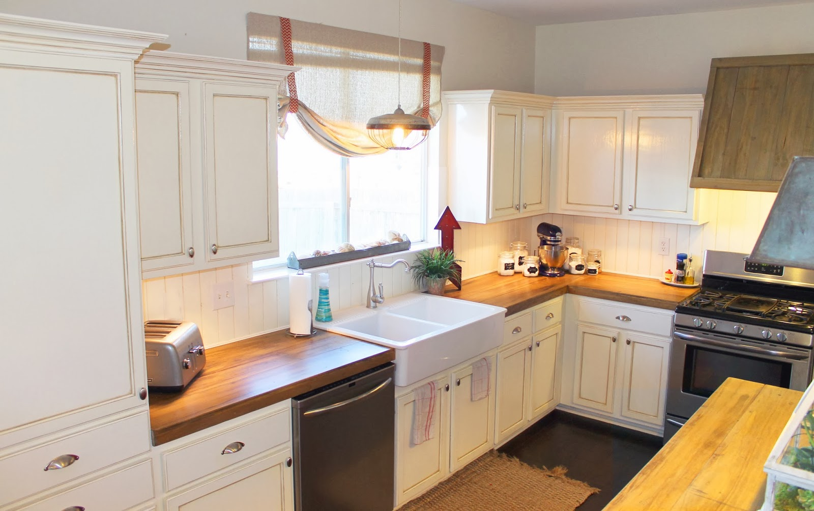 wood countertops kitchen hood fans remodelaholic how to create faux reclaimed white with the ragged wren on