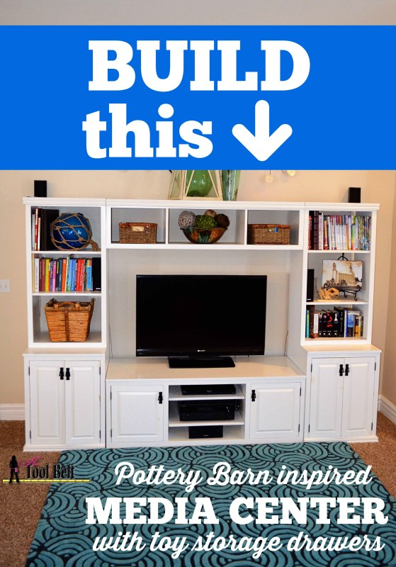 Build a Pottery Barn media center with toy storage drawers | Her Tool Belt on Remodelaholic.com