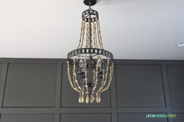DIY chandelier with faux wooden beads, Life on Virginia Street on Remodelaholic
