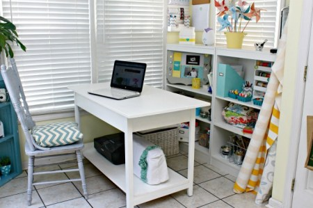 Desk with shelf added to the bottom for more storage