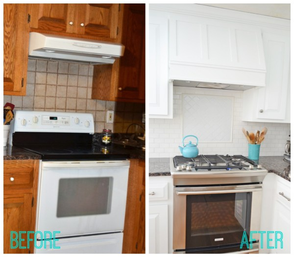 How to create a Custom Storage Range Hood via @Remodelaholic #kitchenstorage #whitekitchen #DIYkitchen #rangehood on Remodelaholic.com