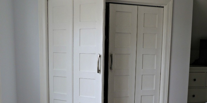 Remodelaholic  Bifold to Paneled French Door Closet Makeover