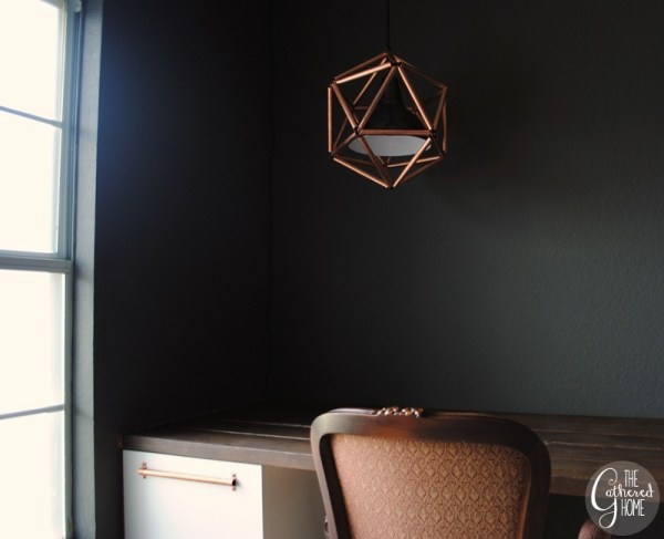 charcoal office with diy copper pipe geometric pendant light, The Gathered Home on Remodelaholic
