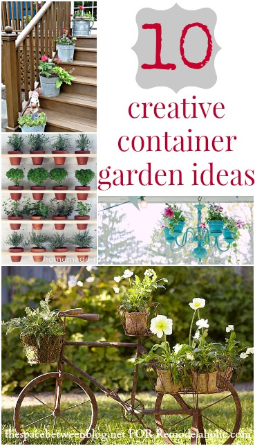 10 Creative Container Garden Ideas | TheSpaceBetweenBlog.net for Remodelaholic.com #gardening #plants