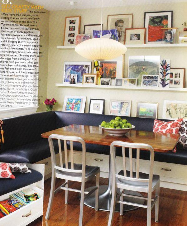 corner banquette with ledge shelves