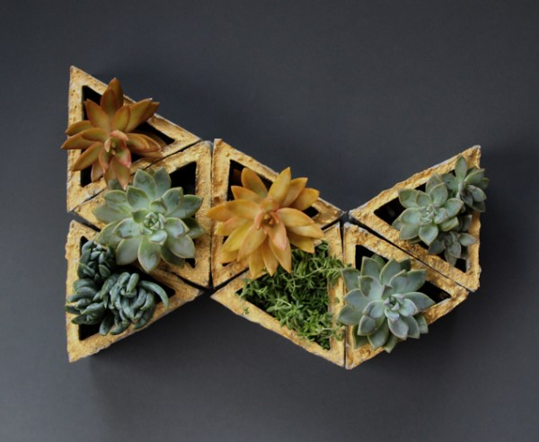 create your own gilded geometric concrete planters, A Piece of Rainbow on Remodelaholic