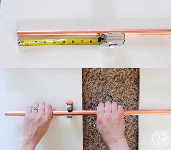 cutting copper pipe for diy geometric pendant light, The Gathered Home on Remodelaholic