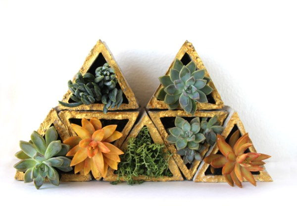 diy geometric concrete planters with gold edges, A Piece of Rainbow on Remodelaholic