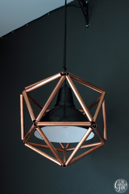 DIY Geometric Icosahedron Copper Pipe Pendant Light | The Gathered Home on Remodelaholic.com