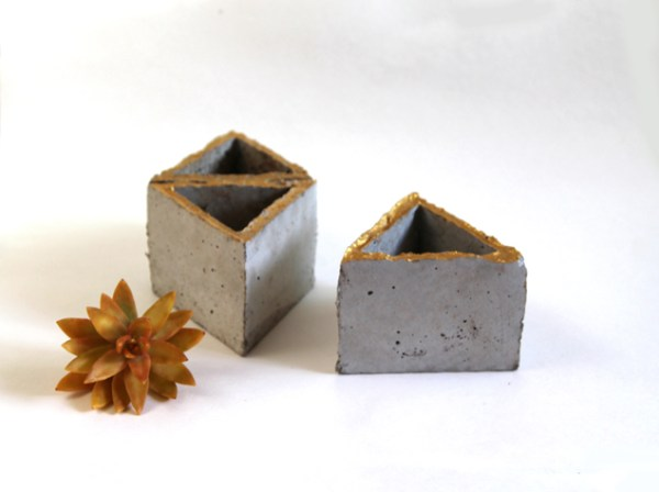 gold painted modular geometric concrete planters tutorial, A Piece of Rainbow on Remodelaholic
