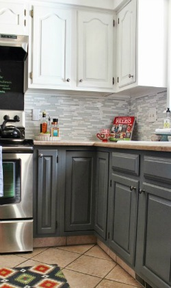 average cost of new kitchen cabinets chairs on casters grey-and-white-kitchen-makeover-with-tile-backsplash-and ...