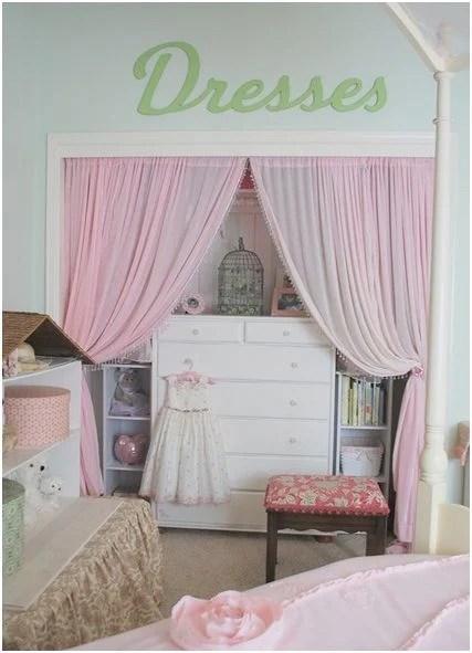 sheer curtain closet door makeover