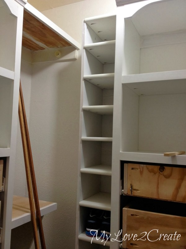 shoe shelf installed in master closet, My Love 2 Create on Remodelaholic