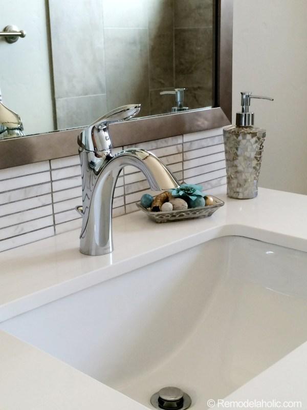 Bathroom Sink Back splash under mirror!