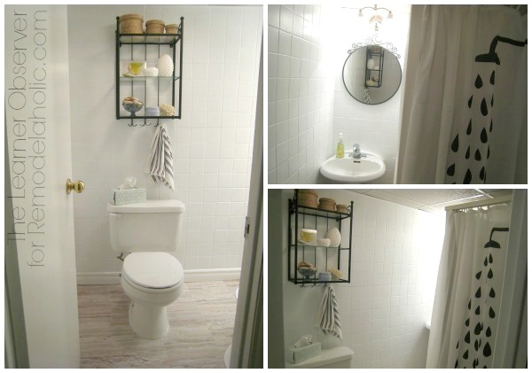 Bathroom makeover with painted tile and new floors by The Learner Observer for Remodelaholic.com