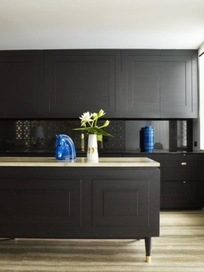 Black Kitchen via Remodelaholic.com
