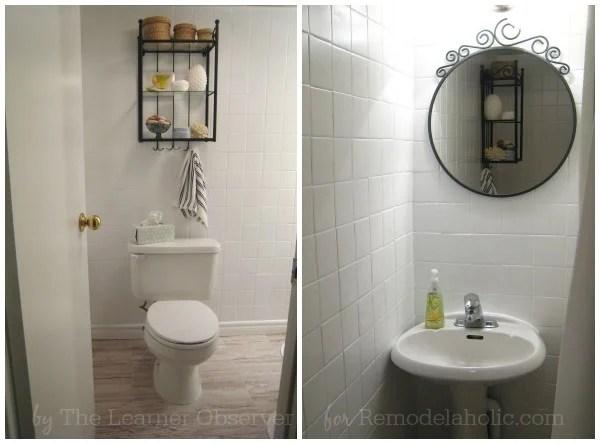 DIY Guest Bath Makeover for under $170 on Remodelaholic.com