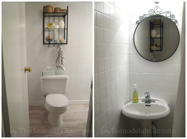 diy bathroom makeover on a budget remodelaholic a 170 bathroom makeover with painted tile 25238