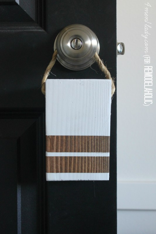 Easy Schoolhouse-Inspired DIY Doorstop -- and it hangs on your door when you're not using it! 4men1lady for Remodelaholic.com