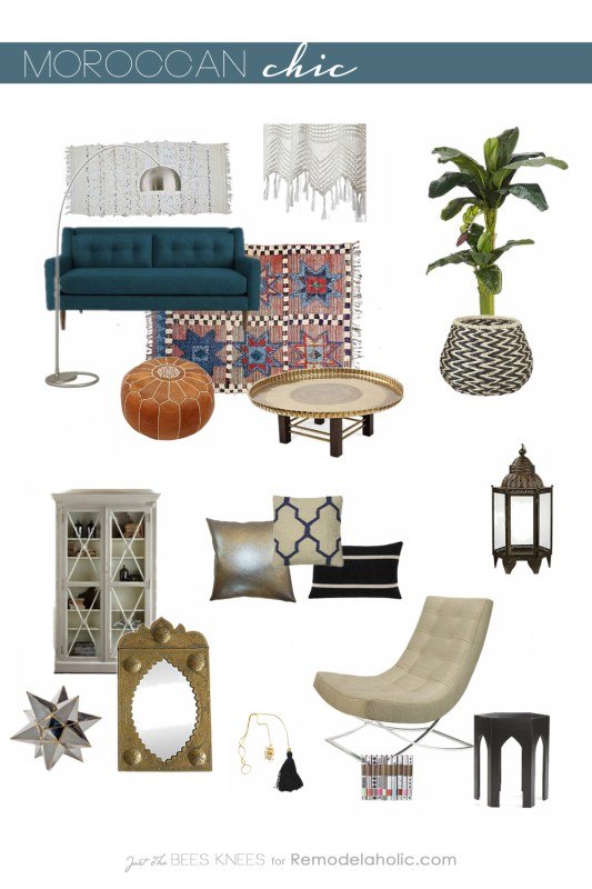 Moroccon Chic from Just The Bees Knees for remodelaholic.com #moodboard #moroccan #design #decor