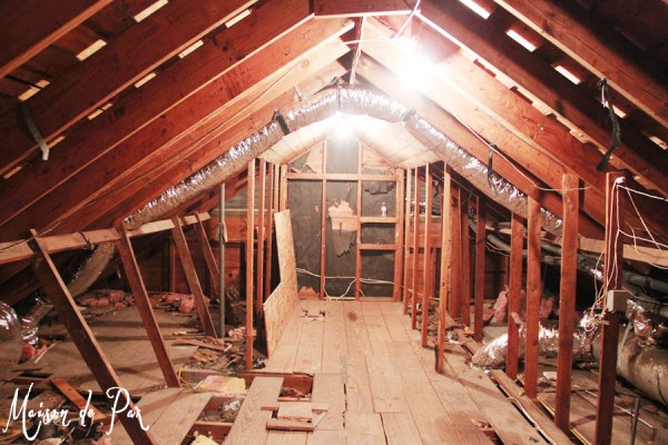attic before whitewashed plank walls, Maison de Pax on Remodelaholic