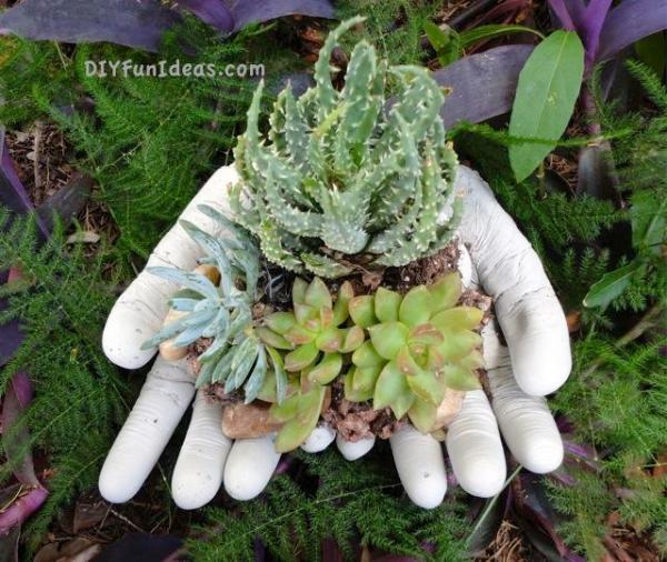 concrete hand planter bowls